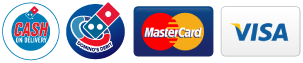 Cash on Delivery, Domino's Debit, Visa and Mastercard